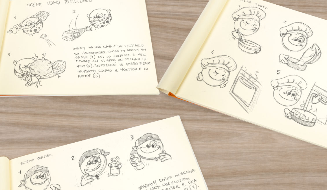 Ricreativi Studio Grafico Bologna Sketches Personaggio Whammy Storyboard